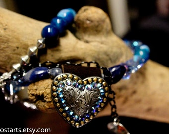 Cowgirl Concho Necklace, Rodeo Blue Western Wedding Accessories, Sapphire Blue Swarovski Crystals Heart Jewelry, Gift For Her Handmade
