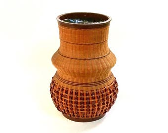Large Vintage Woven Rattan Wrapped Pottery Vase, People's Republic of China, Shanghai Handicrafts