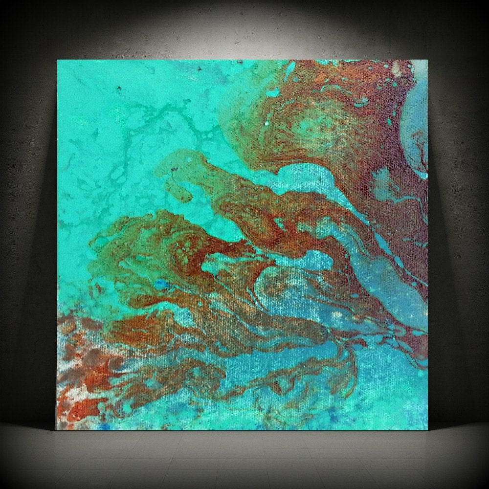 art painting acrylic paintings abstract small wall art canvas aqua turquoise home decor small. Black Bedroom Furniture Sets. Home Design Ideas