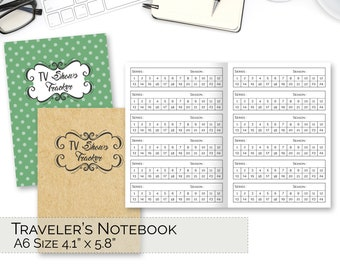A6 TN Inserts, Traveler's Notebook Printable, Tv Shows Tracker, Series Tracker, pdf Foxy Fix 3 Download, TN Inserts, refills