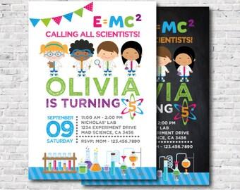 Mad Scientist Invitation, Science Invitation, Mad Science Birthday Party, Digital Printable Invitation, 2 options, DIGITAL