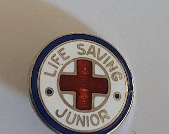 "Vintage enamel Junior Life Saving pin, American Red Cross, nice colors, condition 5/8"""
