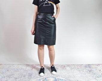 90s High waisted black genuine leather a-line skirt