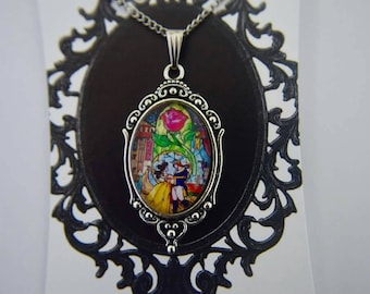 Beauty and the Beast - stained glass necklace