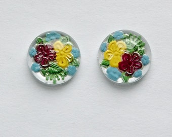 Burgundy and Yellow Flower Intaglio Glass Cabochon 13mm (2) int010B