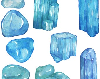 Aquamarine Crystal Sticker Pack   Last Updated 1/12/18   Magical Stickers Hand Made with Love