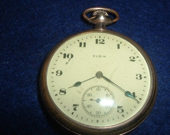 Vintage Elgin 16 Size 7 Jewels Pocket Watch Runs Good