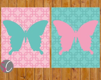 Butterfly Wall Art Toddler Girls Bedroom Pink Turquoise Butterflies Nursery Decor Set of 2 8x10 Digital JPG Printable Instant Download (164)