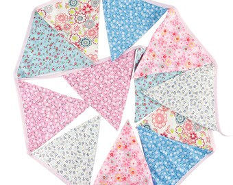 Cotton Pennant Bunting in Shades of Pink ~ 3.2m *Baby Shower *Nursery *Garden Party