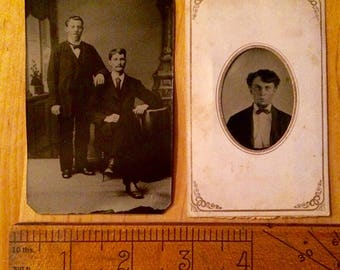 Tin type photographs set of two from same family album. Excellent condition!