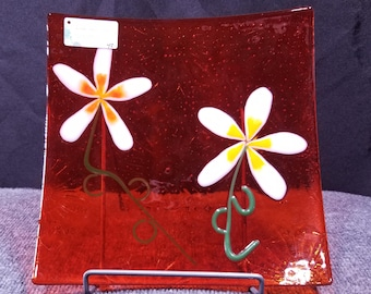 """Lovely Daisy Fused Glass Plate, 10x10"""", Orange"""