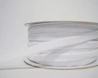 """5 yards 3/8"""" White Velvet Ribbon, White Velvet Ribbon, Ribbon lot, Wholesale Ribbon, White Velvet trim, Velvet ribbon, White velvet, white"""