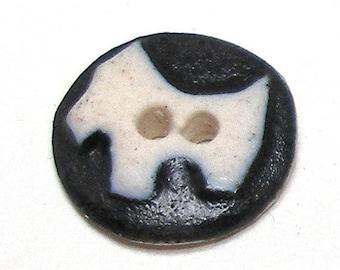 "Mini Scottie DOG Button, Handmade ceramic Scottish terrier, white on black 1/2"", canine."