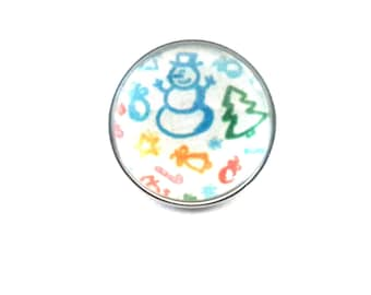 Snap snap 18mm designs and symbols of Christmas: snowman, tree, star. ...
