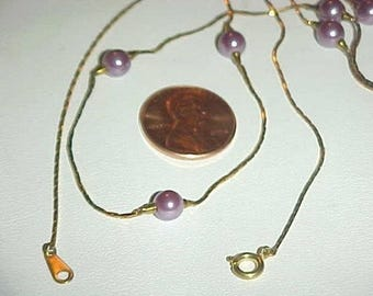 "1 Vintage Japanese Lilac Pearl Brass Chain 24"" Necklace L872"