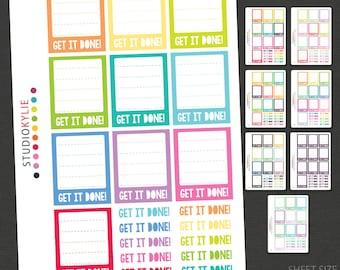 Get It Done! - Full Box Planner Stickers   - To suit Erin Condren LifePlanners™ - Repositionable Matte Vinyl