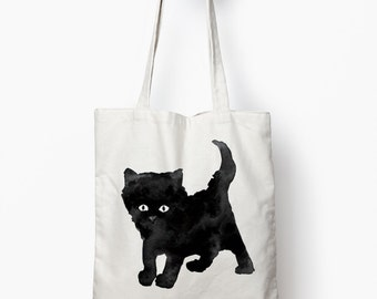 black cat tote bag, book bag, canvas tote bag
