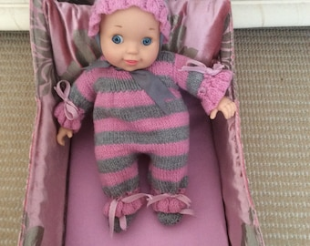 """Fabulous pink/grey velvet covered cot with pillow/pillowcase,cushion, sheet, blanket ,quilt with14"""" baby doll14"""" baby doll"""