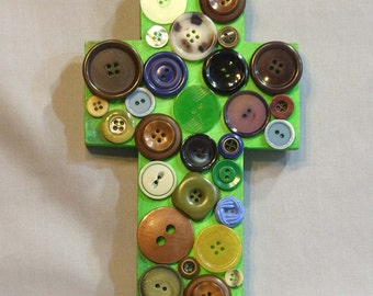 Wall Cross, Green Button Cross, recycled art, religious folk art cross