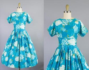 1950s blue rose dress/ 50s floral cotton day dress/ sundress/ small