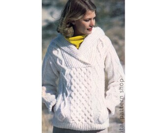 Hooded Sweater Knitting Pattern Irish Knit Sweater, Hoodie Sweater Oversize Knitting Jumper Womens Size 6 to 20 PDF Instant Download K96