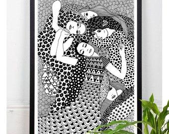 The Virgin, Gustav Klimt, Art Print, Home Decor, Famous Painting, Classic Art, Wall Decor, Black and White, Zentangle Art, Polka Dots