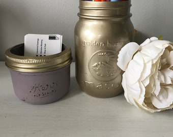 Painted distressed mauve purple and gold mason jar office decor, business card and pen holder