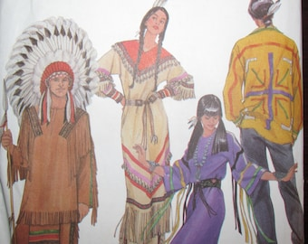 Simplicity 5446 UNCUT Historic Native American Dress Adult Costume Sewing Pattern Sizes XS S M L XL Indian Clothing Costume
