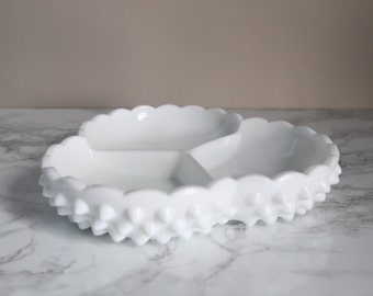 Milk Glass Hobnail Candy Dish