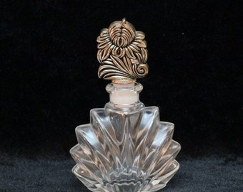 Memorial Day Sale Vintage Art Deco Crystal Perfume Bottle with Silverplate Stopper by Godinger Silver