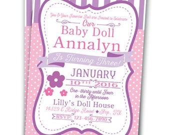 Baby Doll Invitation Baby Doll Party Girly Doll Party Doll Birthday 5x7 Doll Party Baby Doll Tea Party Dolly Party