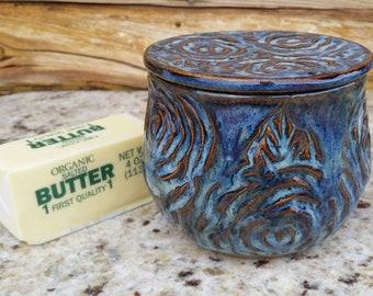 Pottery French Butter Crock, Blue butter dish, Flowers, Butter Dish, Ceramic Butter Crock, Butter Jar, Butter Keeper, Roses, flower garden