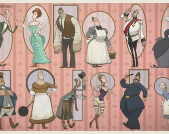 11x17 Art Print - Victorian Print - Victorian Stereotypes, Upstairs, Downstairs, Lord and Lady, Servants