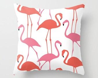 Flamingo Pillow with insert - Flamingo Throw Pillow with insert - Flamingo Decor - Modern Decor - Beach Decor - Tropical Decor - Aldari Home