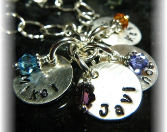 Mother's Keepsake Bracelet -4 Four Names. Swarovski Crystal Birthstones. Sterling Silver Chain 1/2 Inch Discs. Hand Stamped.