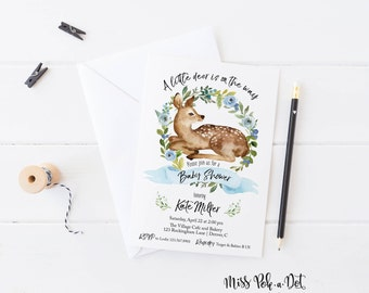 Little Deer Baby Shower Invitation, Prints, Boy Shower Invite, Blue Floral Wreath, Simple, Modern, Watercolor, Natural, Woodland, Greenery