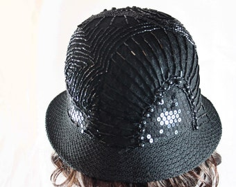 Downton Abbey Hat - 20% OFF HOLIDAY SALE - 1920s Sequins Black Cloche Hat Beaded Hat Downton Gift Woman Formal Hat Vintage Style Hat Gatsby