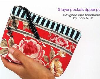 multipurpose pouch | 3 zipper pouch | 3 zippers purse | zippers pouch | zipper bag | cosmetic pouch | makeup bag |  travel bag |