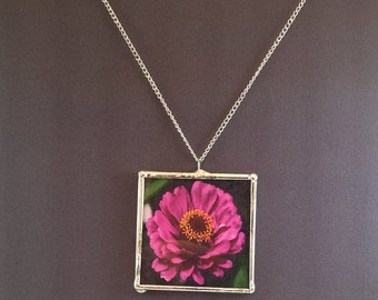 """Pink Zinnia Flower Necklace, 2"""" Pendant; Simple Elegance; Gift Wrapping Available"""