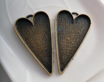 2 bronze tone heart pendant setting tray findings 26mm x 50mm jewellery making