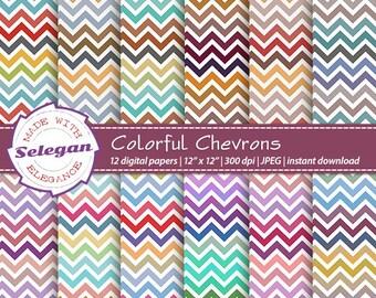 "chevron scrapbooking "" Colorful Chevrons "" digital scrapbook printable paper rainbow multi color print colorful 12x12 diy download"