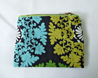 Coin Purse - Small Coin Purse - Green Coin Purse - Mini Zip Pouch - Small Zip Pouch - Handmade - One of a Kind