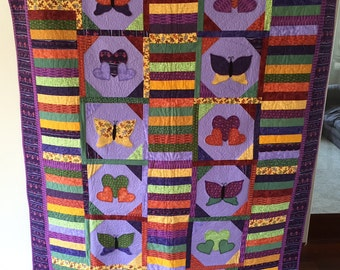 Handmade Purple Quilt with butterflies and Hearts