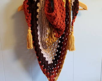 Crochet Granny Square Triangle Scarf