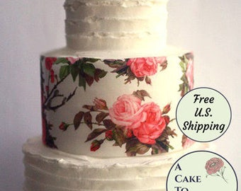 """Three full sheets of printed wafer paper with a large vintage rose and leaves pattern. 8"""" x 10.5"""". For cake and cookie decorating."""