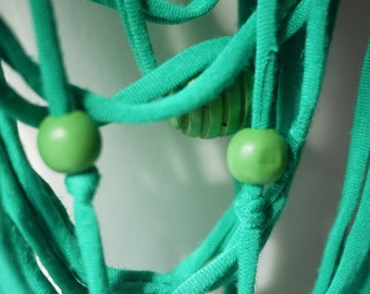 Upcycled t-shirt scarf: Shades of green with knots and wooden beads [373]