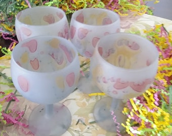 NOUVEAU REUVEN  Vintage   Hand-painted  Glasses -Made in USA/Estate Sale /Pristine Condition