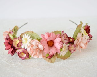 Dusky Pink Flower Crown, flowergirl headband, floral headband, bridal flower crown, bridal headpiece, flowergirl garland, bridesmaid - EMILY