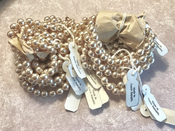 New Old Stock Vintage Pearl bracelets made in Czech Republic