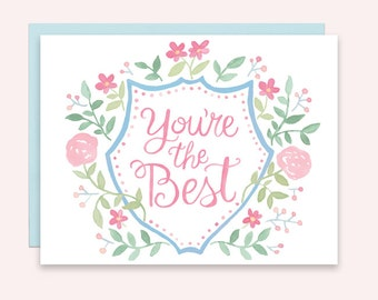 You're the Best Watercolor Crest Greeting Card, Just Because, Encouragement Greeting Card, Valentine Card for Friend, Modern Heraldry Card